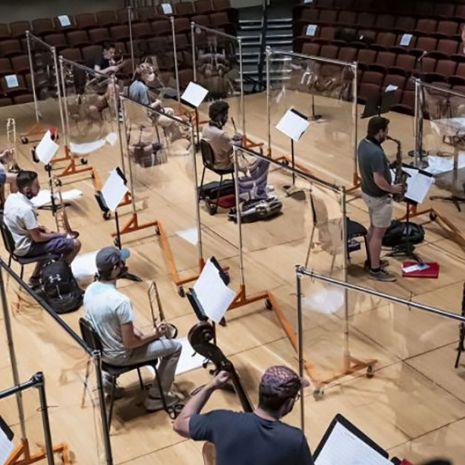 Socially-distance jazz band rehearsal