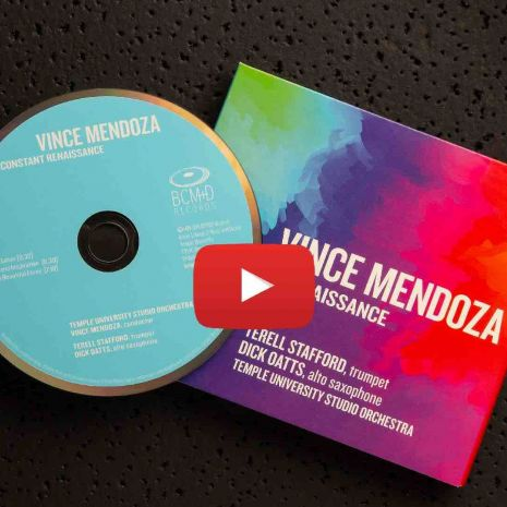 Black background with Vince Mendoza CD and artwork (still of youtube link)
