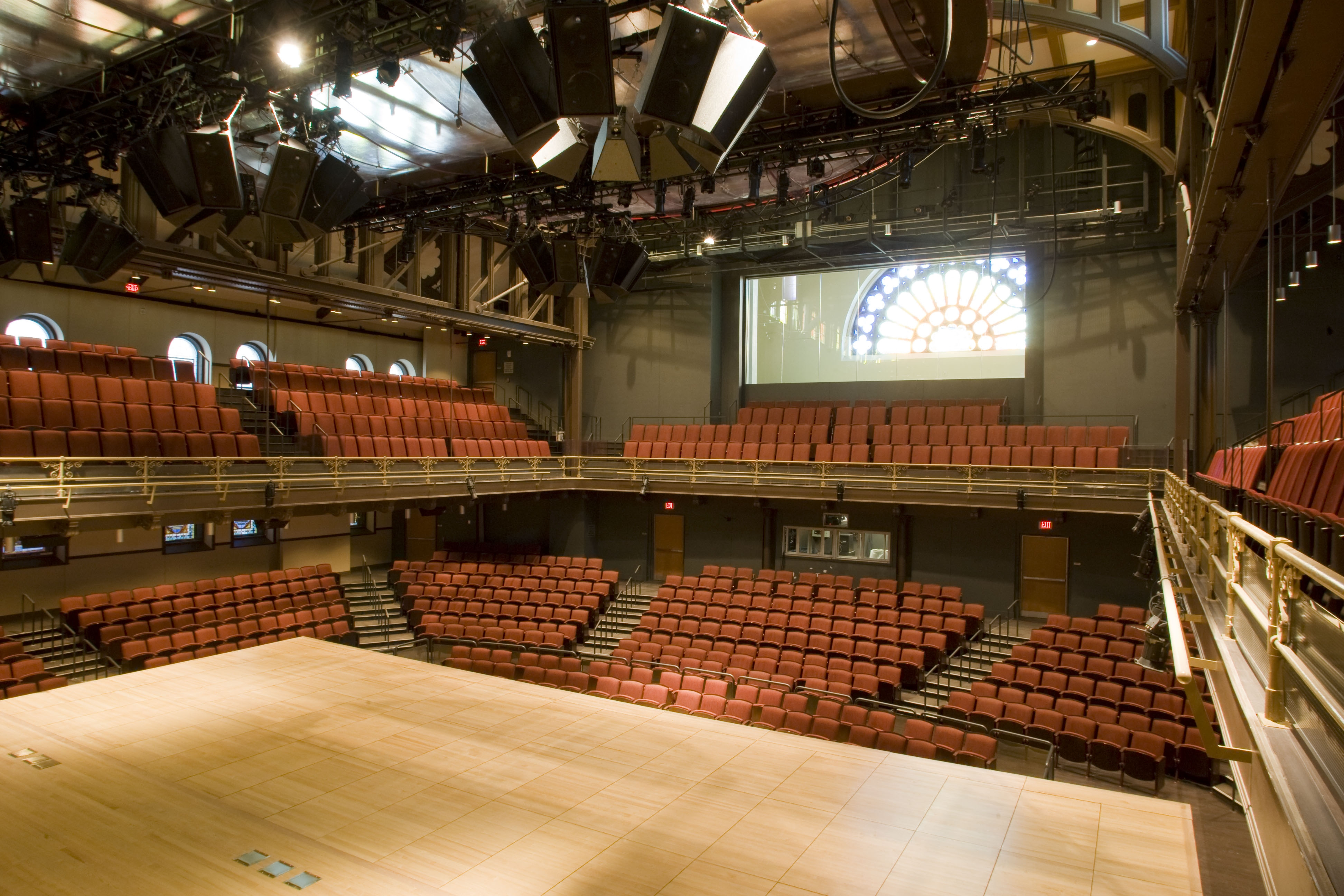Interior photo of Lew Klein Hall, view from stage looking towards seating