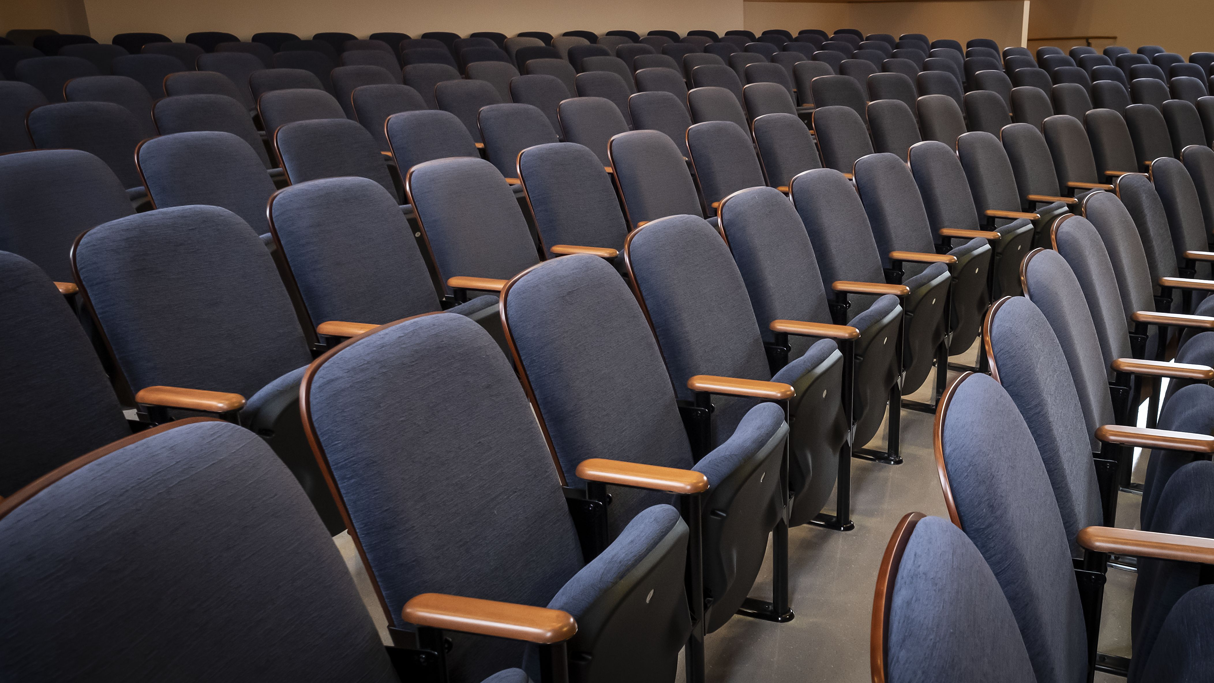 Rows of blue upholstered auditorium seats