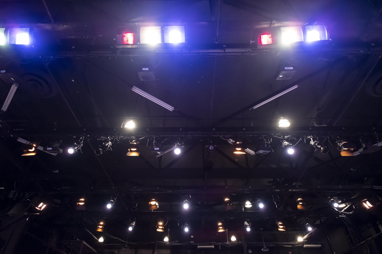 Spotlights on black ceiling