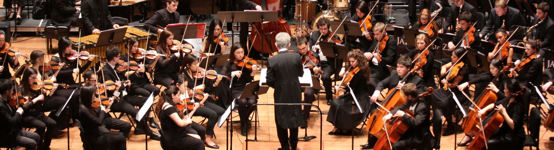 Large orchestra on stage in concert dress