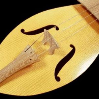 close-up of a medieval stringed instrument