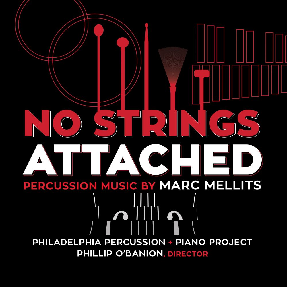 Album Cover for No Strings Attached by Philadelphia Percussion + Piano Project