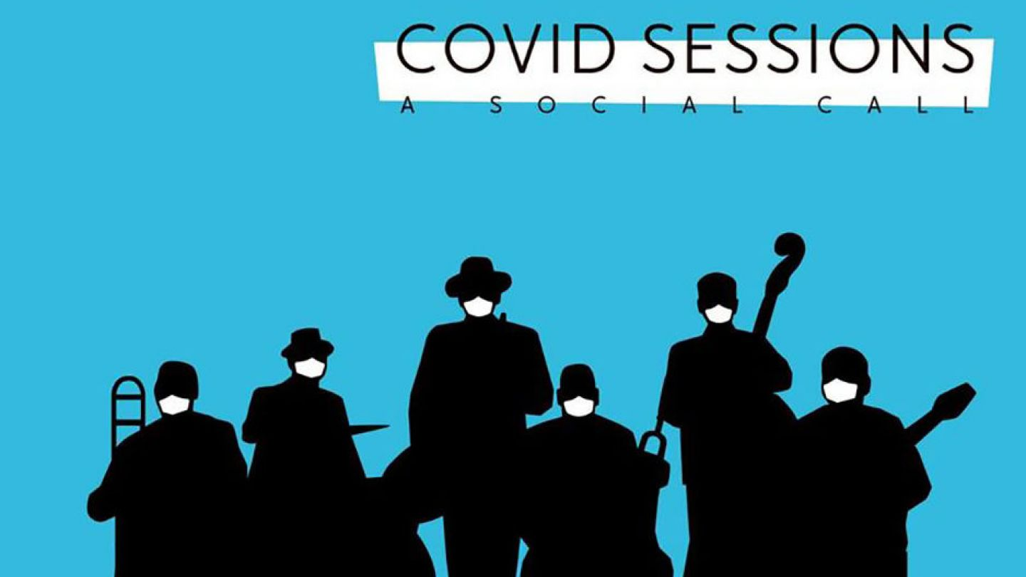 silhouette image of musicians on a blue background