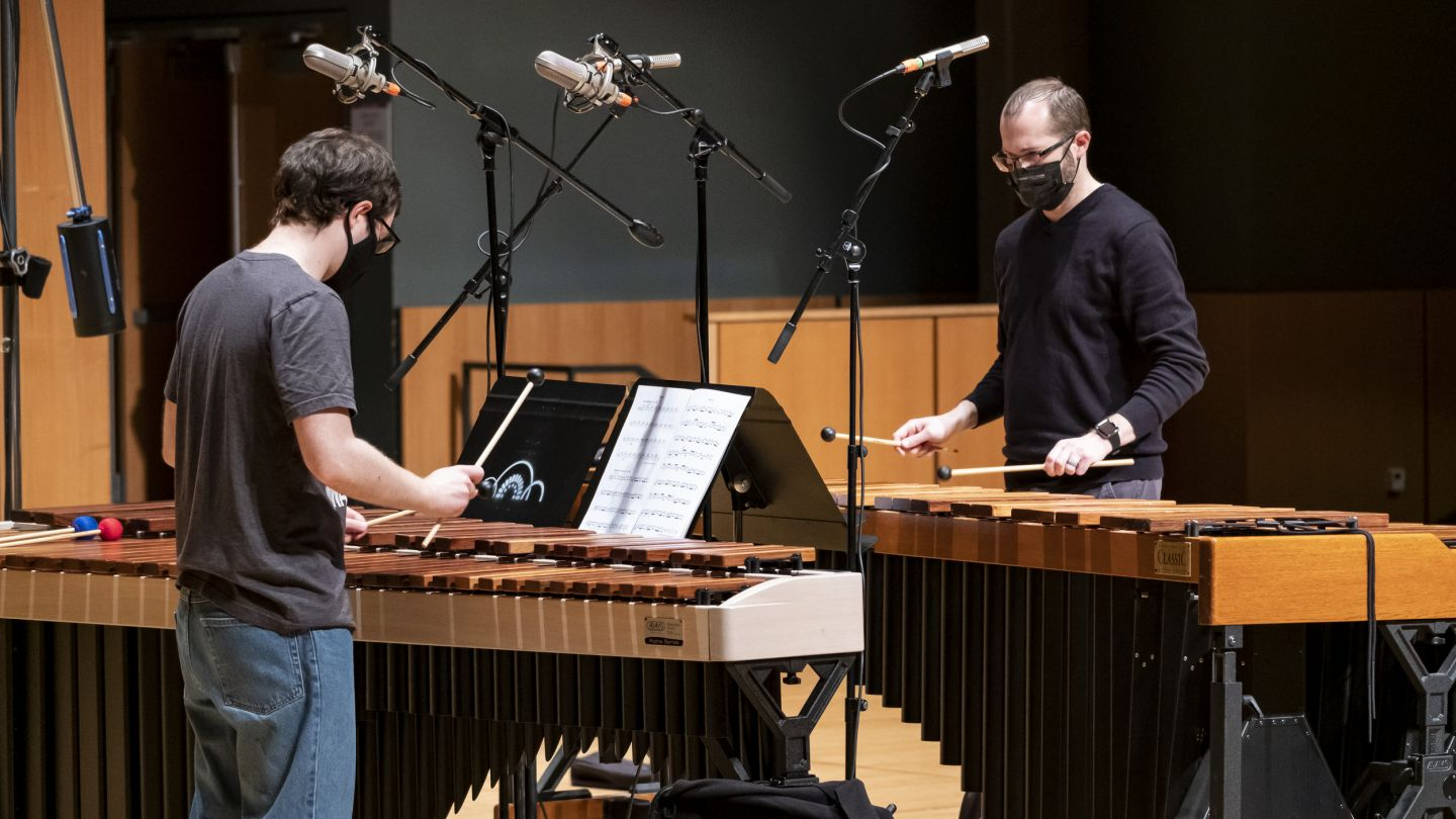 Philadelphia Percussion + Piano Project members record on stage at Temple Performing Arts Center