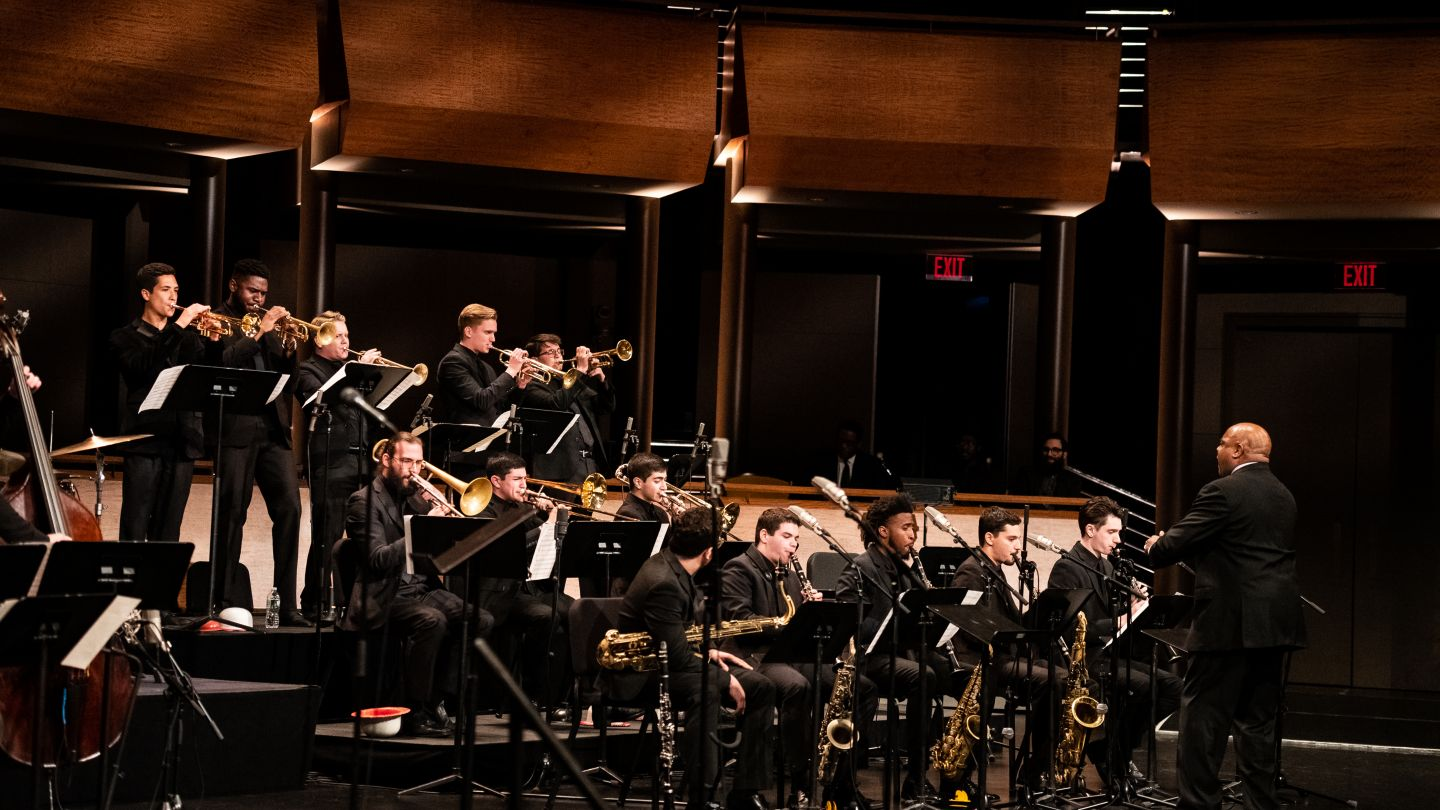 Jazz big band on stage at Jazz at Lincoln Center
